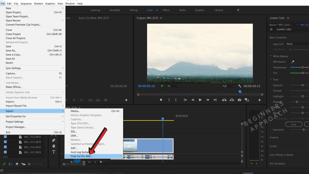 Premiere Pro Export as XML