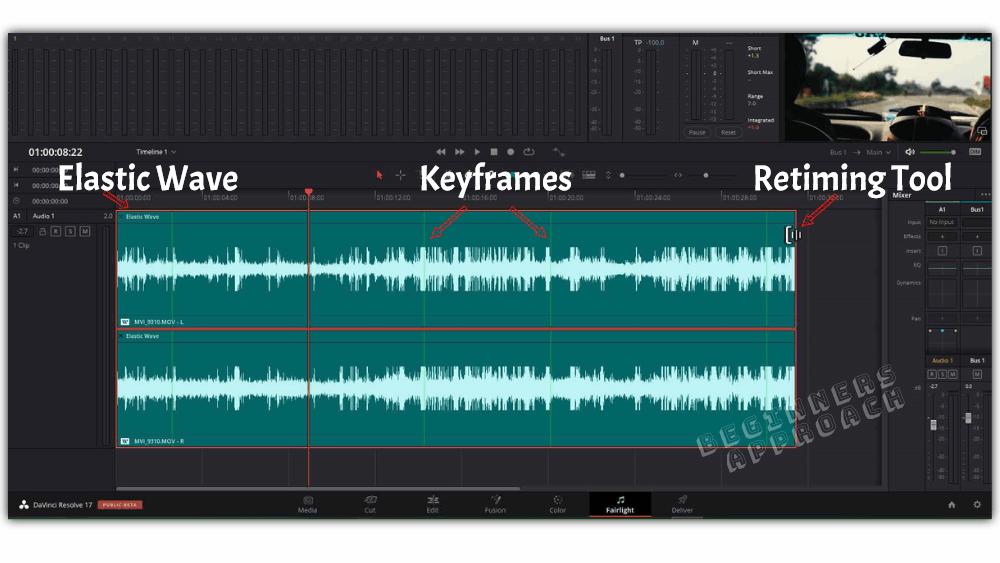 retime audio in davinci resolve fairlight using elastic wave