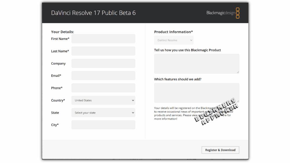 DaVinci Resolve Registration before download