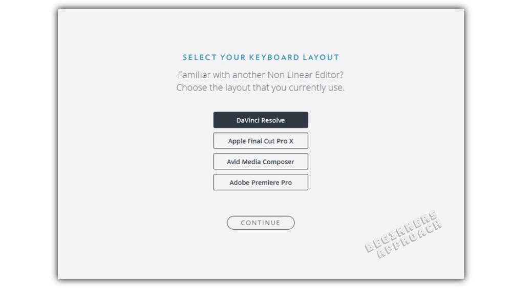 Select your DaVinci Resolve keyboard layout.